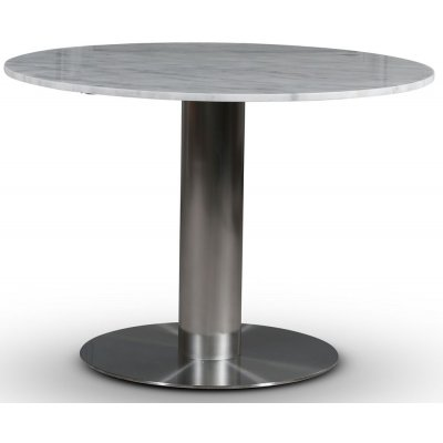 SOHO spisebord Ø105 cm - Børstet aluminium / Lys marmor