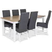 Ramnäs spisegruppe - Bord inkludert 6 Isabelle stoler - Hvit/eikebeis