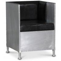 Abbe lenestol i aluminium - Svart lær