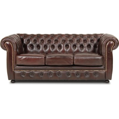Dublin chesterfield 3-seter sofa - Brunt lær