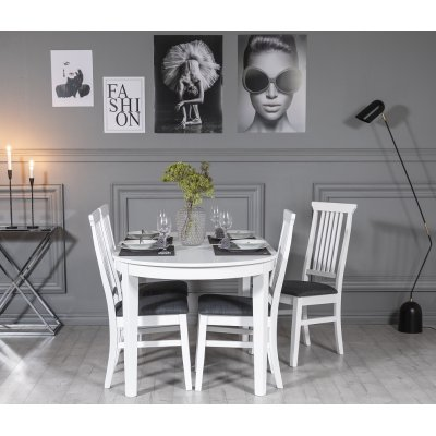 Gåsö spisegruppe: Ovalt bord 160/210 cm inkludert 4 Måsö stoler - Hvit/Grå