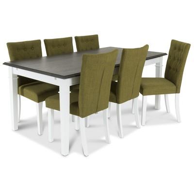 Rammenäs Spisegruppe 180 cm med 6 st Crocket stoler med Grønt tøy