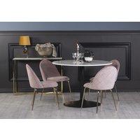 Plaza spisegruppe, marmorbord med 4 st Plaza fløyelstoler - Rosa/Messing/Svart