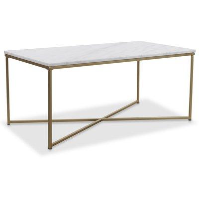 Maryland sofabord 110 - Hvit ekte marmor / Matt messing