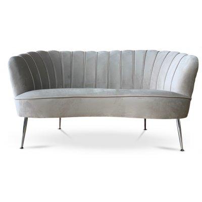 Snäckan 2-seter sofa - Gråbeige fløyel / Krom