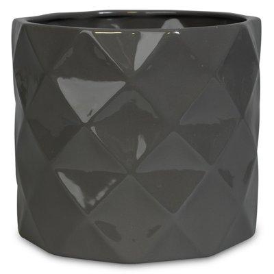 Krukke Romb H16 cm - Grå