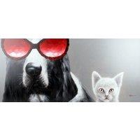 Tavla oljemaling - Hund & Katt