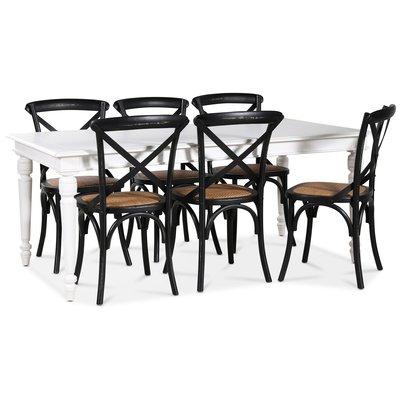 Paris spisegruppe 180 cm bord hvit+ 6 st svarte Gaston spisestoler
