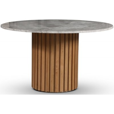 Sumo spisebord Ø130 cm - Oljet eik / Sølvmarmor