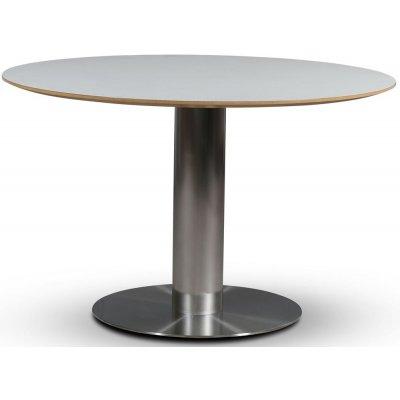 SOHO spisebord Ø118 cm - Børstet aluminium / Perstorp hvit HPL