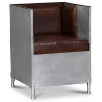 Abbe lenestol i aluminium - Mørkebrunt lær