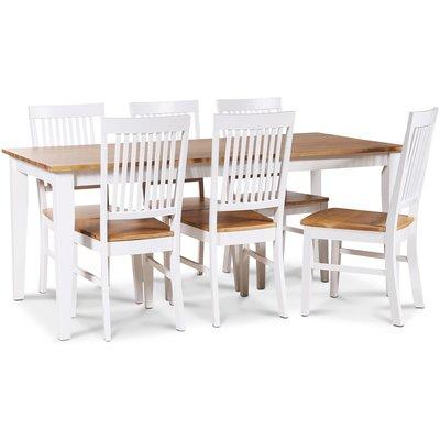 Dalarös spisegruppe 180 cm bord hvit/eik + 6 st Dalarös spisestoler