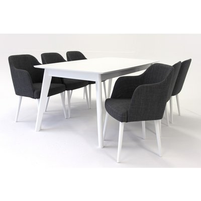 Sarek spisegruppe - Bord inklusive 6 stk. Sarek-stoler - Hvit