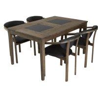 Habo spisegruppe inkl. 4 stk Holstebro stoler - Eik/granit