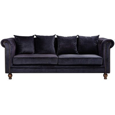 Chesterfield 3-seters sofa Churchill - Svart Fløyel