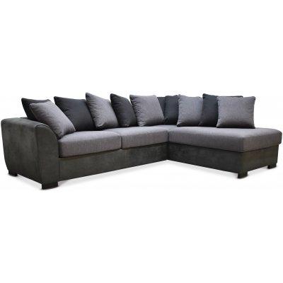 Delux sofa med åpen ende høyre - Grå/Antrasitt/Vintage