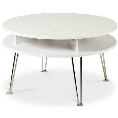 Designa rundt sofabord - Krom/Hvit