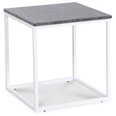 Accent lampebord 50x50 cm - Grå marmor / Hvit