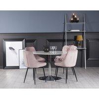 Plaza spisegruppe, marmorbord med 4 st Theo fløyelstoler - Rosa/Hvit/Krom