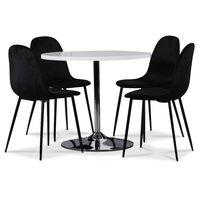 Tiana bord med forkrommet fot - Hvit