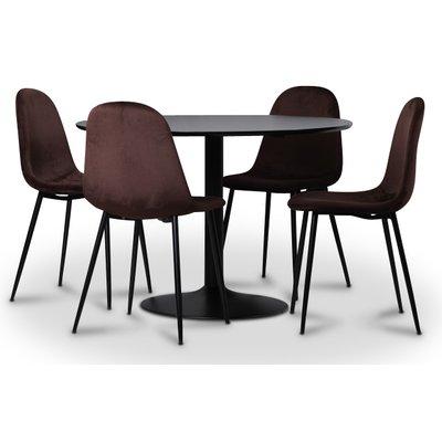 Seat Spisegruppe, spisebord med 4 stk Carisma fløyelsstoler - Sort/Bordeaux