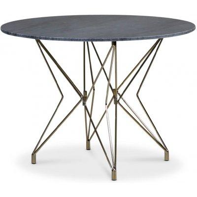 Zoo spisebord Ø105 cm - Messing / Grå Marmor