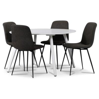 Rosvik spisegruppe, spisebord med 4 st Smokey spisestoler - Hvit/Vintage