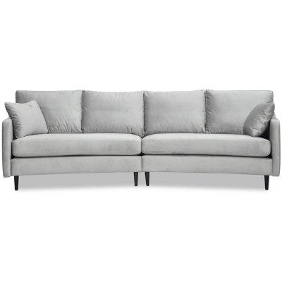 Visby 4-seters buet sofa 301 cm - Lysegrå fløyel