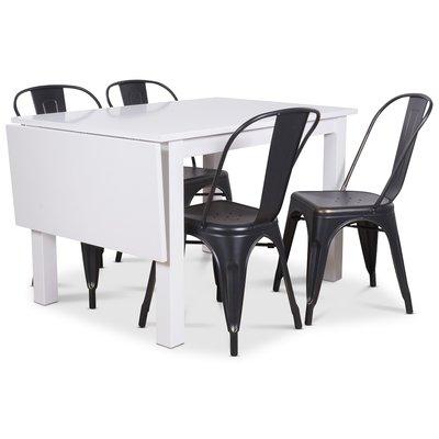 Sander spisegruppe, Klaffbord med 4 st metallstoler - Hvit/svart/Gull