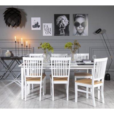 Gåsö spisegruppe: Bord 180 cm inkludert 6 Fårö stoler - Hvit/Eik