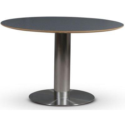 SOHO spisebord Ø118 cm - Børstet aluminium / Perstorp mørkegrå virrvarr